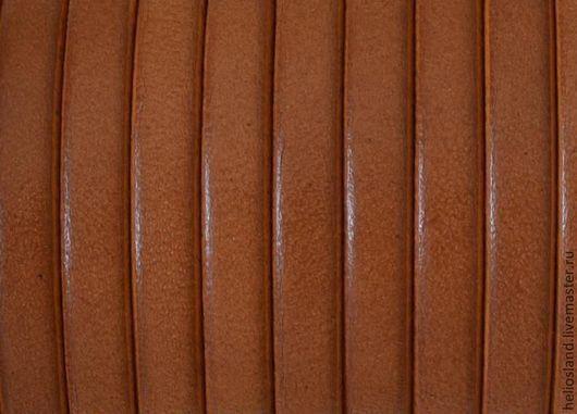 Для украшений ручной работы. Ярмарка Мастеров - ручная работа. Купить Кожаный шнур плоский 5 мм орех. Handmade.
