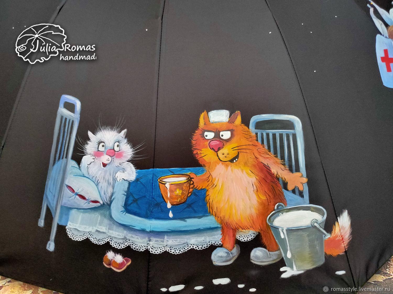 Зонт-трость с росписью Животные-врачи. Подарок врачу, Зонты, Санкт-Петербург,  Фото №1