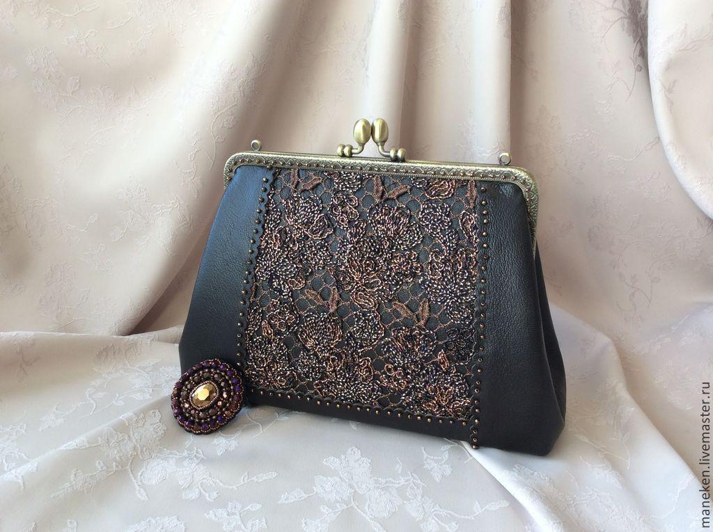 Handbag evening leather and lace DOLCE VITA, Classic Bag, Krasnodar,  Фото №1