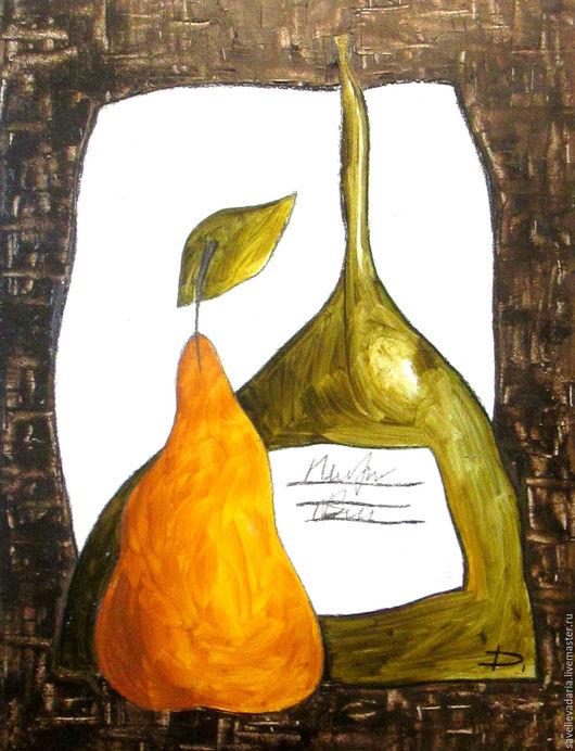 """Натюрморт ручной работы. Ярмарка Мастеров - ручная работа. Купить Картина маслом """"Грушевое удовольствие"""". Handmade. Тёмно-зелёный, бутылка"""