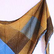 """Аксессуары ручной работы. Ярмарка Мастеров - ручная работа Шаль Blue-brown серия """"Пэчворк"""" шерсть. Handmade."""
