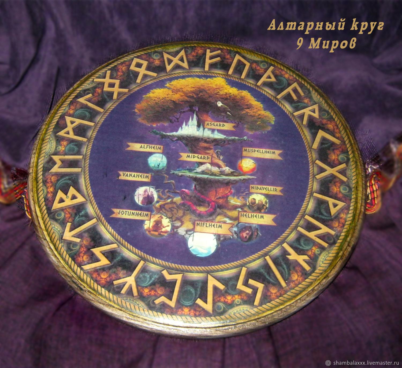 The nine Worlds of Yggdrasil, the altar circle of wood (elm), Ritual attributes, Asha,  Фото №1
