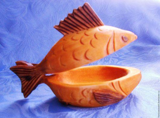 Посуда ручной работы. Ярмарка Мастеров - ручная работа. Купить Рыбка солонка/икорница/шкатулка с крышкой. Handmade. Бежевый, ложка сделанная вручную