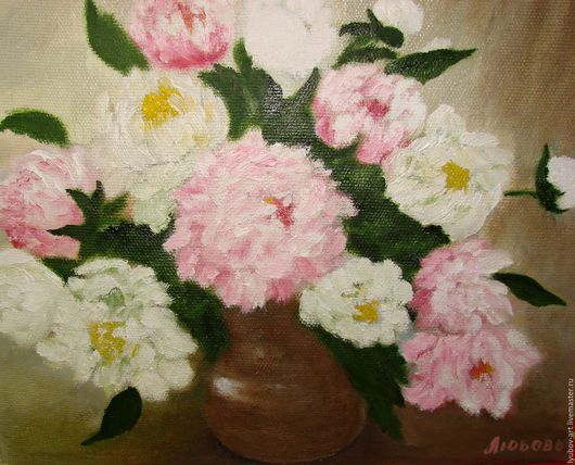 Картины цветов ручной работы. Ярмарка Мастеров - ручная работа. Купить Пионы.. Handmade. Розовый, пионы в вазе, картина в подарок