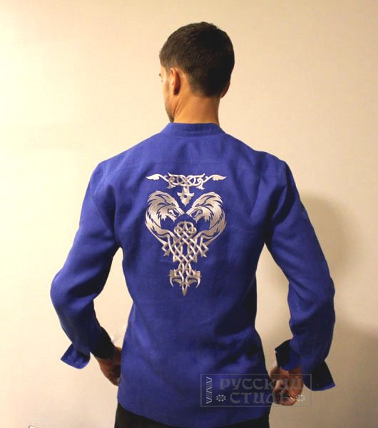 """Для мужчин, ручной работы. Ярмарка Мастеров - ручная работа. Купить Рубаха """"Тотем"""". Handmade. Тёмно-синий, рубашка из хлопка"""