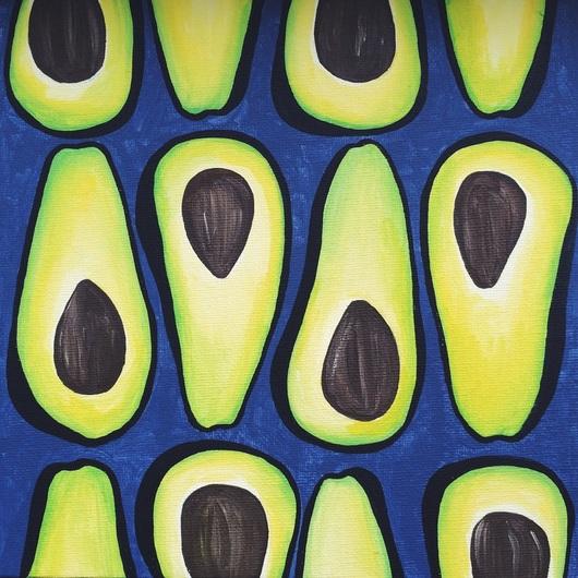 Натюрморт ручной работы. Ярмарка Мастеров - ручная работа. Купить Авокадо. Handmade. Салатовый, авокадо, холст, зеленый, кость, еда
