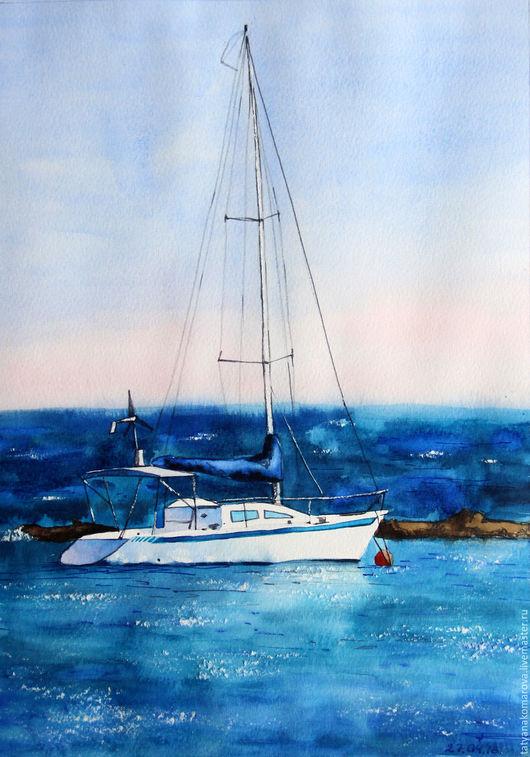 """Пейзаж ручной работы. Ярмарка Мастеров - ручная работа. Купить Акварельная картина """"Тихая гавань"""". Handmade. Акварельный рисунок"""