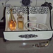 Для дома и интерьера ручной работы. Ярмарка Мастеров - ручная работа Короб для парфюма деревянный декупаж белый - черный цвет. Handmade.
