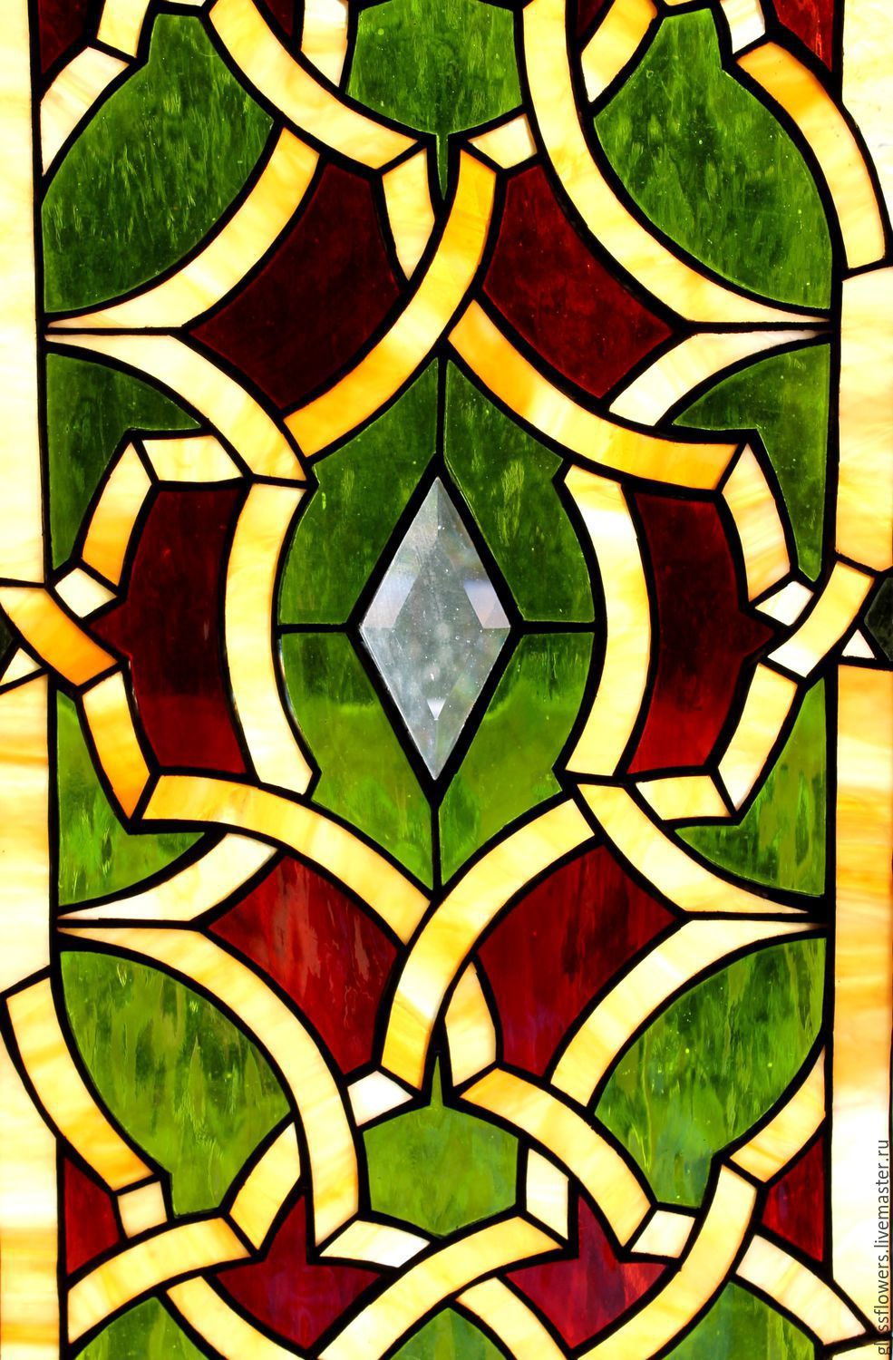 Stained Glass Tiffany Geometric Pattern Stained Glass In The Door