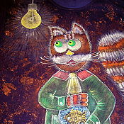 Одежда ручной работы. Ярмарка Мастеров - ручная работа Футболка Кот и его Золотая Рыбка. Handmade.