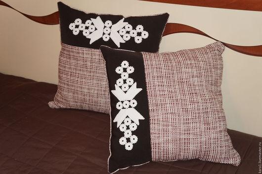 Текстиль, ковры ручной работы. Ярмарка Мастеров - ручная работа. Купить 2 подушки декоративные бежево-коричневый. Handmade. Бежевый