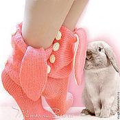 Аксессуары ручной работы. Ярмарка Мастеров - ручная работа Розовый заяц. Носки вязаные, шерстяные, домашняя обувь. Handmade.