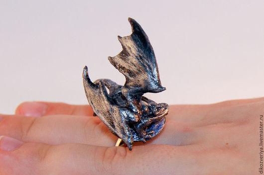 Кольца ручной работы. Ярмарка Мастеров - ручная работа. Купить Кольцо с Дракончиком. Handmade. Серебряный, кольцо с драконом, дрокончик