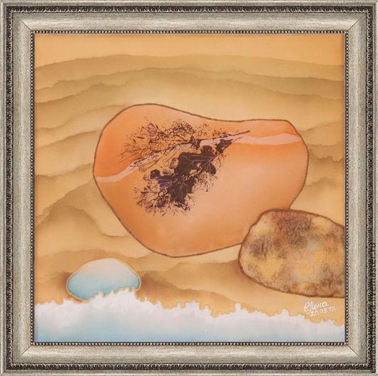 Батик картины для интерьра Янтарное сердце. Панно батик. Бежевый. Кремовый. Персиковый. Песочный. Романтика. Медитация. Спокойствие. Картины для спальни. Свадебные подарки. Подарок подруге. Картины Ре