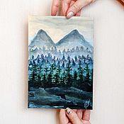 Картины ручной работы. Ярмарка Мастеров - ручная работа Вспоминая Твин Пикс картина акварель пейзаж лес туман горы недорого. Handmade.