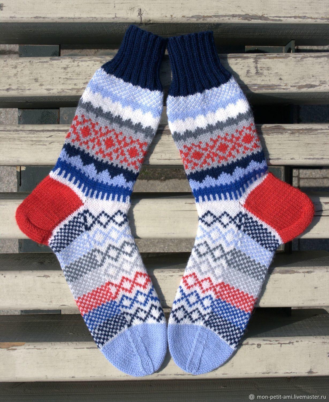 Вязаные, шерстяные носки с орнаментом, Носки Чулки, Москва, Фото №1