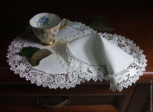 """Винтажные предметы интерьера. Ярмарка Мастеров - ручная работа. Купить Винтажные салфеточки """"Ирландское кружево"""". Handmade. Белый, лён"""