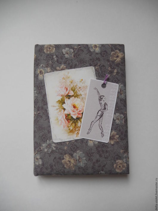 """Блокноты ручной работы. Ярмарка Мастеров - ручная работа. Купить Блокнот """"Балерина с розовым цветком"""". Handmade. Блокнот, тканевая обложка"""