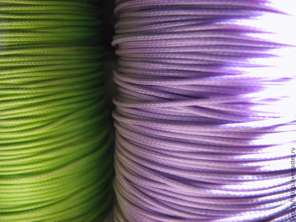 Synthetic cord 1mm for jewelry light green and purple, lavender, Cords, Moscow,  Фото №1