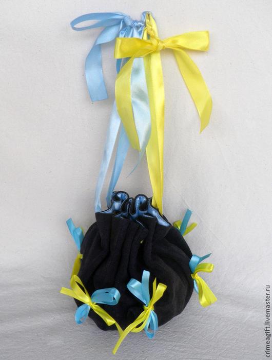 Женские сумки ручной работы. Ярмарка Мастеров - ручная работа. Купить Круглая сумочка с лентами (синяя). Handmade. Театральная сумочка