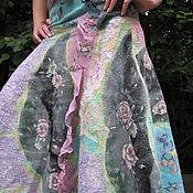 "Одежда handmade. Livemaster - original item Nuno felted skirt ""Moths at dawn"". Handmade."