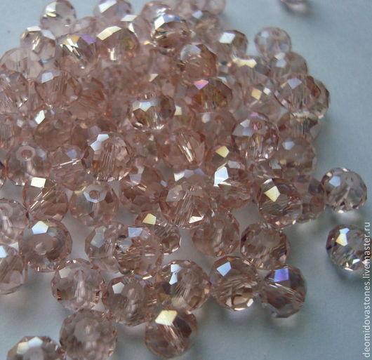 Для украшений ручной работы. Ярмарка Мастеров - ручная работа. Купить Хрусталь, рондели граненые, 6 мм, нежно-розовый, по 10 шт. Handmade.