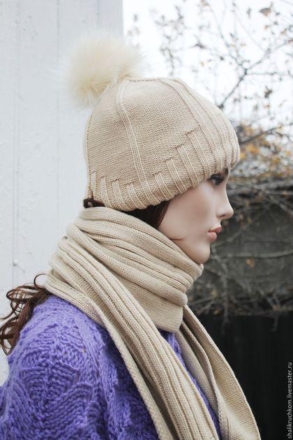 Шарфы и шарфики ручной работы. Ярмарка Мастеров - ручная работа. Купить Комплект шапка и шарф с помпоном Беж. Handmade. Белый