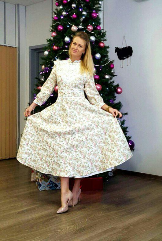 Платья ручной работы. Ярмарка Мастеров - ручная работа. Купить Платье стиль А ля Рус - Зимняя нежность. Handmade.