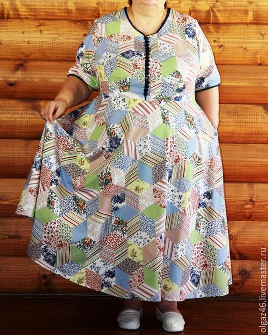 """Большие размеры ручной работы. Ярмарка Мастеров - ручная работа. Купить Платье большого размера с рукавом по локоть """"Ромбы"""". Handmade."""