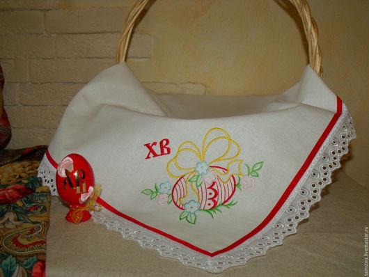 """Текстиль, ковры ручной работы. Ярмарка Мастеров - ручная работа. Купить Пасхальная салфетка """"Яйцо в цветах"""" 3. Handmade. Белый"""