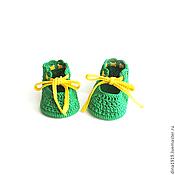 Работы для детей, handmade. Livemaster - original item booties for baby girl booties knitted summer green. Handmade.