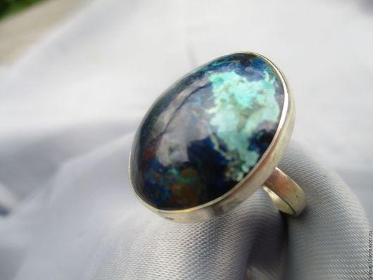 кольцо `Остров в океане` цена  2000 хризоколла ,серебро