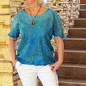 """Одежда ручной работы. Ярмарка Мастеров - ручная работа Топ """"Blue"""" нуновойлок. Handmade."""