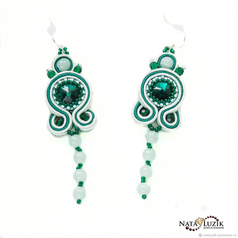 46b845ddb Earrings handmade. Livemaster - handmade. Buy Soutache earrings with mint  green Swarovski crystals long ...