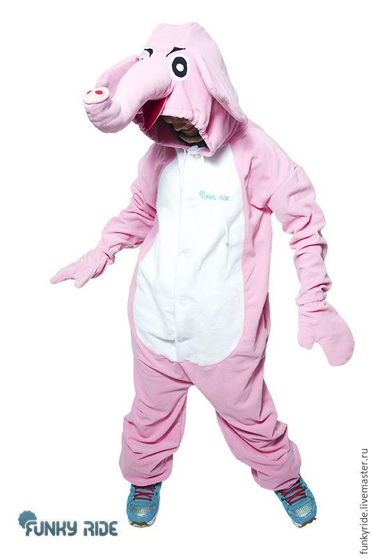 Pink Elephant Kigurumi - Custom Handmade - Anti-pill Fleece Pyjamas - Unisex costume - for Adult and Children - high quality