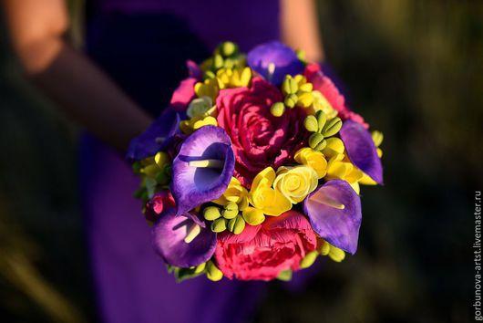 """Свадебные цветы ручной работы. Ярмарка Мастеров - ручная работа. Купить Букет невесты из полимерной глины """"Магия контраста"""". Handmade."""