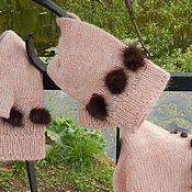 Аксессуары handmade. Livemaster - original item Knitted pink Snood and mitts made of Italian wool. Handmade.