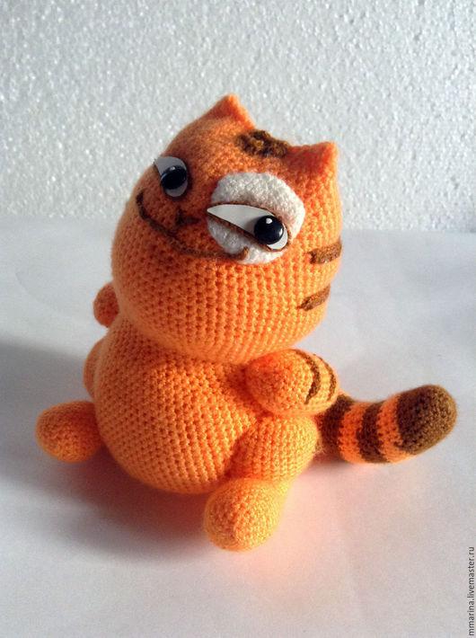 Игрушки животные, ручной работы. Ярмарка Мастеров - ручная работа. Купить стикер вязаный кот Персик - улыбашка. Handmade. Рыжий
