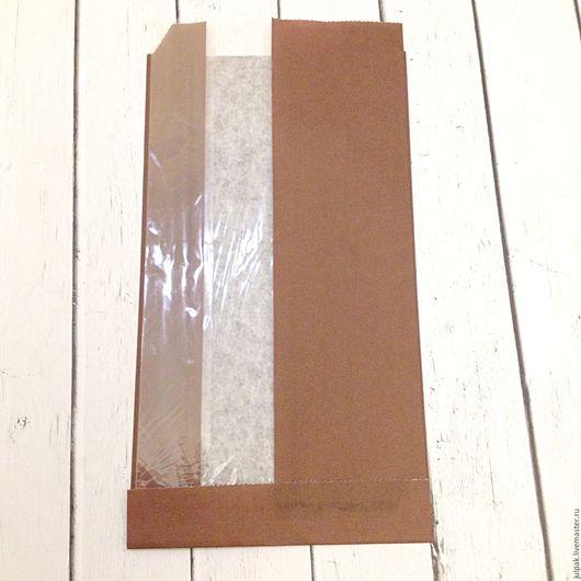 Упаковка ручной работы. Ярмарка Мастеров - ручная работа. Купить Пакет бумажный 12х5х23 см бок. окно с Vдном. Handmade.