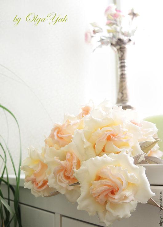 Цветы ручной работы. Ярмарка Мастеров - ручная работа. Купить Цветы из ткани. Роза Amore Mio. Handmade. Белый