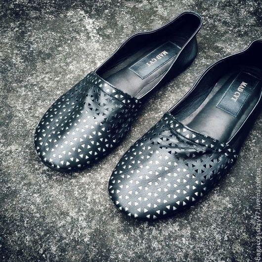 Обувь ручной работы. Ярмарка Мастеров - ручная работа. Купить Слиперы из натуральной кожи. Handmade. Черный, слиперы на заказ