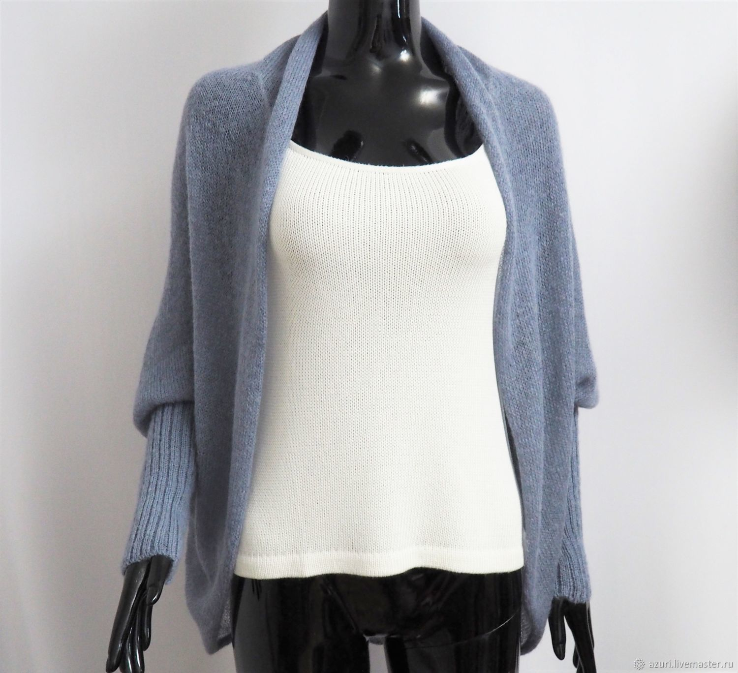 Cape cardigan with cuffs made of kid-mohair, Cardigans, Cheboksary,  Фото №1
