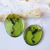 Украшения handmade. Livemaster - original item Transparent Oval Earrings Green frog in the Swamp. Handmade.