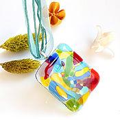 Украшения handmade. Livemaster - original item Pendant: glass pendant Bright summer, fusing costume jewelry. Handmade.