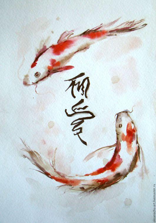 Животные ручной работы. Ярмарка Мастеров - ручная работа. Купить Две рыбки. Handmade. Ярко-красный, черный, китай