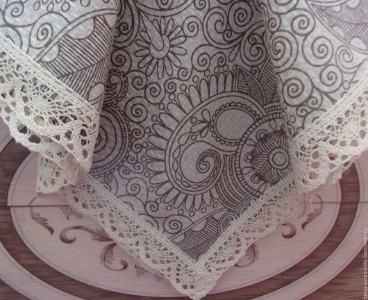 """Текстиль, ковры ручной работы. Ярмарка Мастеров - ручная работа. Купить Скатерть с кружевом """"УЗОРЫ"""". Handmade. Серый, скатерть с кружевом"""