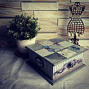 """Для дома и интерьера ручной работы. Ярмарка Мастеров - ручная работа Шкатулка """"Синие розы"""". Handmade."""