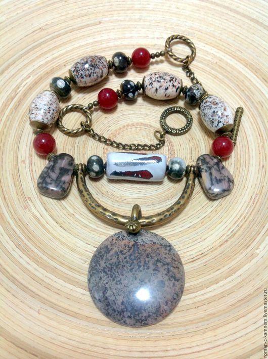 Этно бусы из камней и керамики Черепаховый остров. Авторская работа. Handmade necklace.