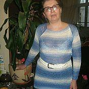 Одежда ручной работы. Ярмарка Мастеров - ручная работа Ажурный джемпер из бамбука Синяя птица. Handmade.
