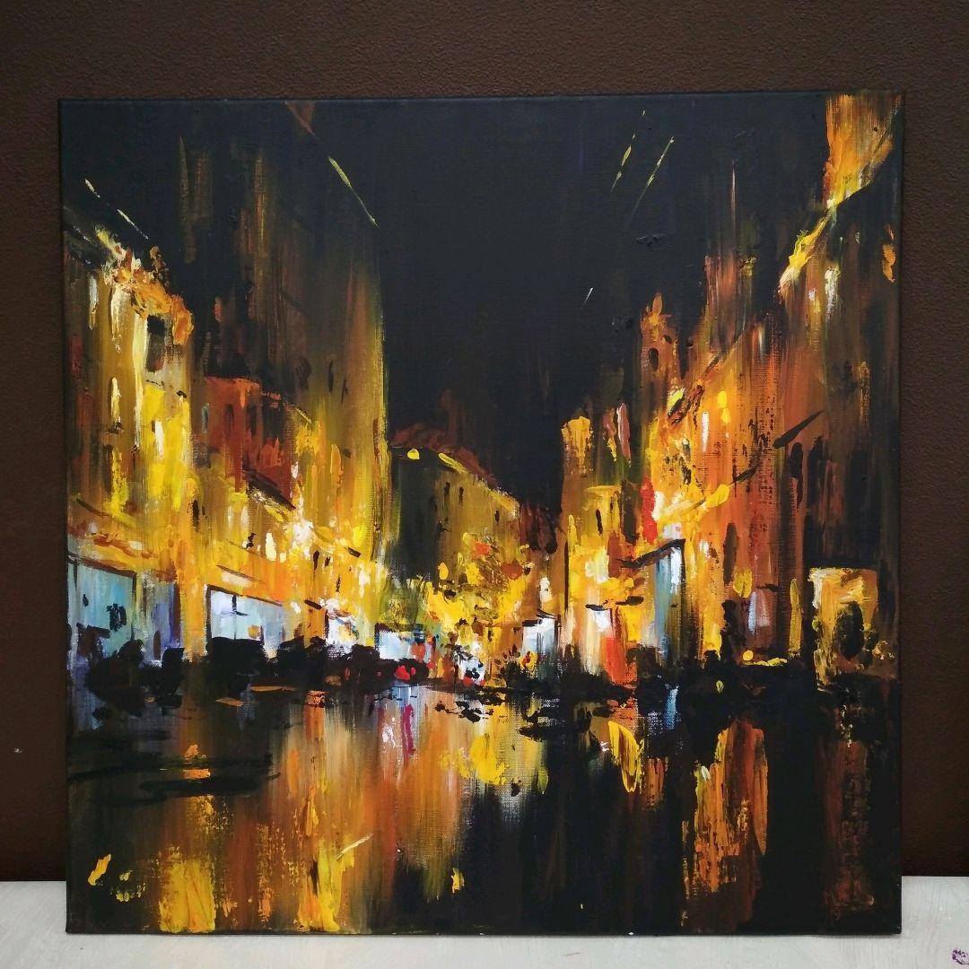 """Картина акрилом """"Город в дожде"""" – купить на Ярмарке ...  Дождливый Город Картина"""